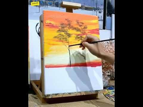 """Cách vẽ tranh bằng màu nước chủ đề """"Hoàng hôn nơi hoang dã"""""""
