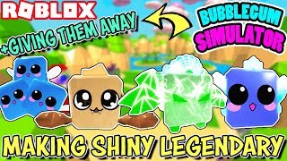 MAKING SHINY LEGENDARY PETS AND GIVING THEM TO FANS IN BUBBLEGUM SIMULATOR (Roblox) | SHINY INDEX