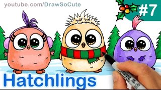 How to Draw Cute Bird Hatchling step by step Angry Bird Holiday Teaser