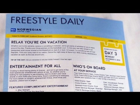 NCL Freestyle Daily Schedule from Norwegian Escape Eastern Caribbean Cruise