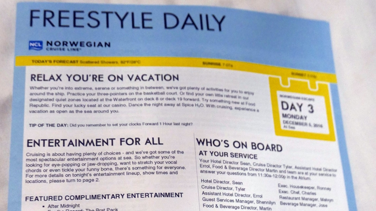 Ncl Freestyle Daily Schedule From Norwegian Escape Eastern
