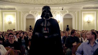 Star Wars and Darth Vader in Conservatory listening to the Imperial March