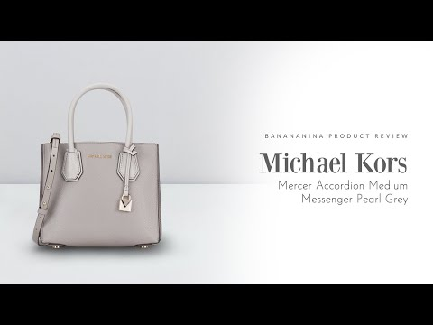 Banananina Product Review: Michael Kors Mercer Accordion Medium Messenger Pearl Grey