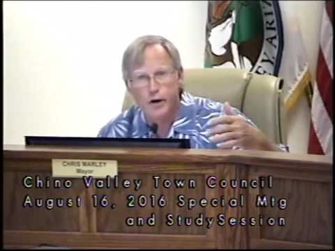 Town of Chino Valley, AZ, Council Special Meeting and Study Session, August 16, 2016