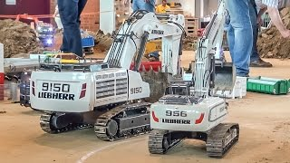 RC excavator MONSTER! Liebherr 9150 R/C digger at the construction site