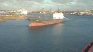 Two ships passing on river Tyne