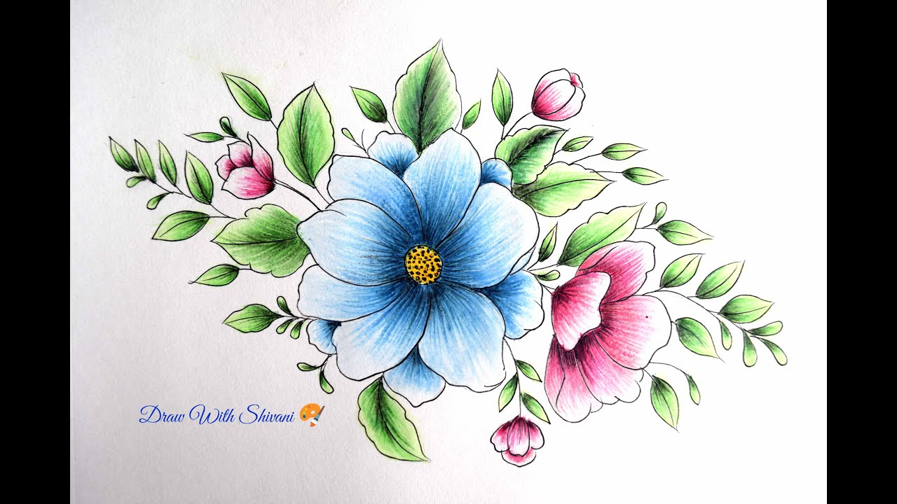 Flower Shading Card Color Pencil Flowers Drawing Youtube