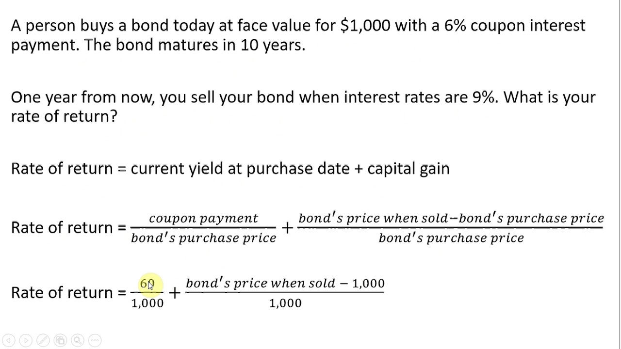 How To Calculate The Rate Of Return On A Coupon Bond Youtube