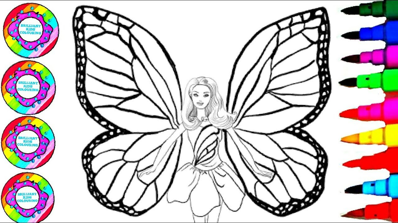 Coloring barbie rainbow butterfly with a jewels book with pearl and gemstones coloring pages l bkc