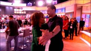 Tom Hiddleston dancing during the commercial break with Joy Behar on The View