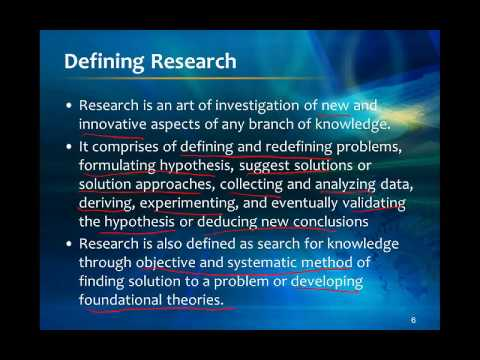 Research Methodology; Lecture 1 (MiniCourse)