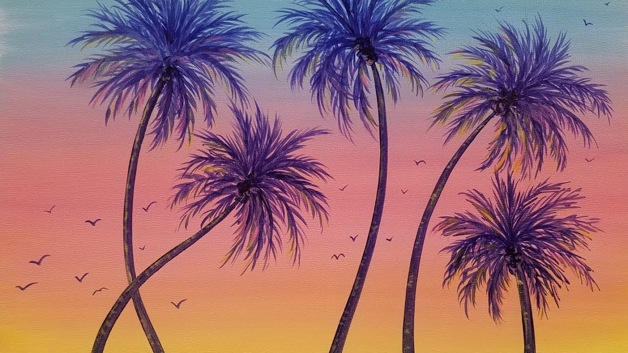 learn to paint a summer sunset palm tree acrylic painting live