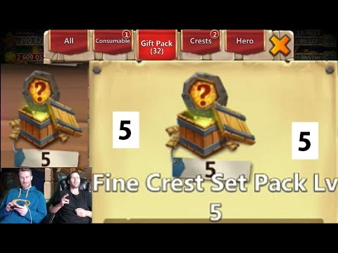 Opening FIVE FINE Crest Set Pack 5s AT THE SAME TIME! INSANE Castle Clash