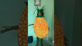 Hakshitha dressed as a pineapple for a fancy dress competition