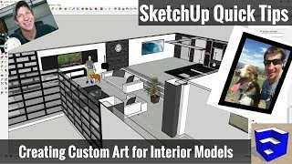 Creating Custom Wall Art For Your Models In Sketchup   Sketchup Quick Tips