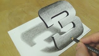 How to Draw Number 3 - Drawing Number Three in 3D on Paper with Pencil - Vamos