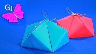 Оригами из бумаги | Праздничная Коробочка | Cвоими руками(Оригами из бумаги Праздничная коробочка с бантиком вверху. Смотрится очень эффектно и наверняка понравитс..., 2015-11-22T11:08:25.000Z)
