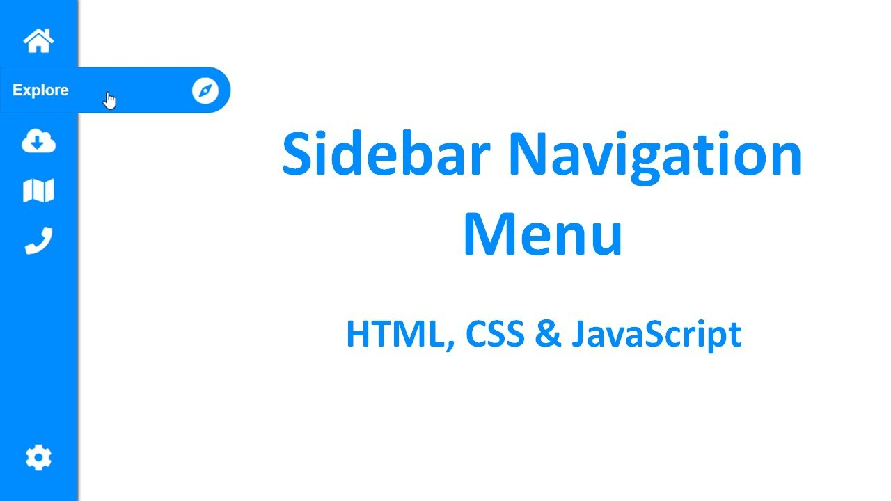 Side Navigation Menu in HTML CSS JavaScript | Sidebar navigation | sidebar menu HTML