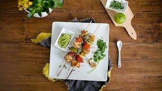 Chicken Kabob With Roasted Garlic Avocado Aioli