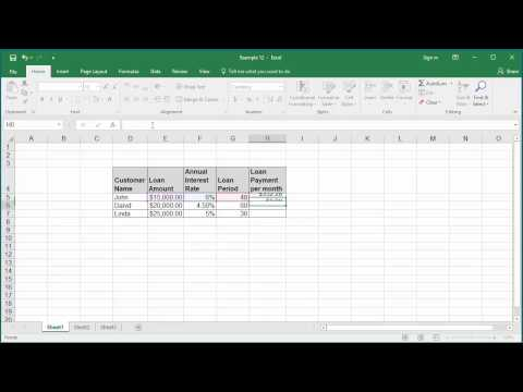 How to Calculate Loan Payment per month using PMT function in Excel 2016