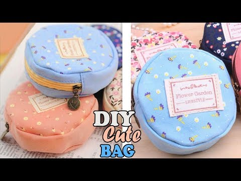 DIY TEXTILE ROUND POUCH BAG // Cute Zipper Mini Bag Tutorial