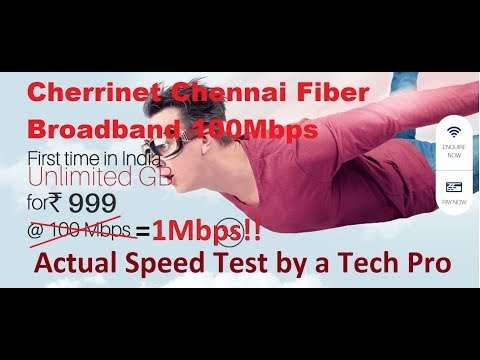 Cherrinet Chennai ISP actual Speed test 100 Mbps@Rs.1262 Unlimited by a Techguy