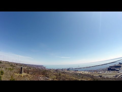 Duluth MN Horizon from a drone - Enger Tower - Lake Superior - Lift Bridge