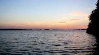 Naturcamping Zwei Seen, Abendstimmung am Badestrand, Plauer See/Mecklenburgische Seenplatte