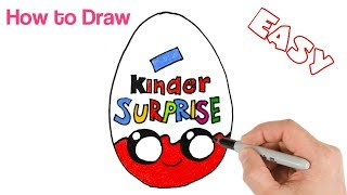 How to Draw Kinder Surprise Egg Cute and Cartoon Food Drawing