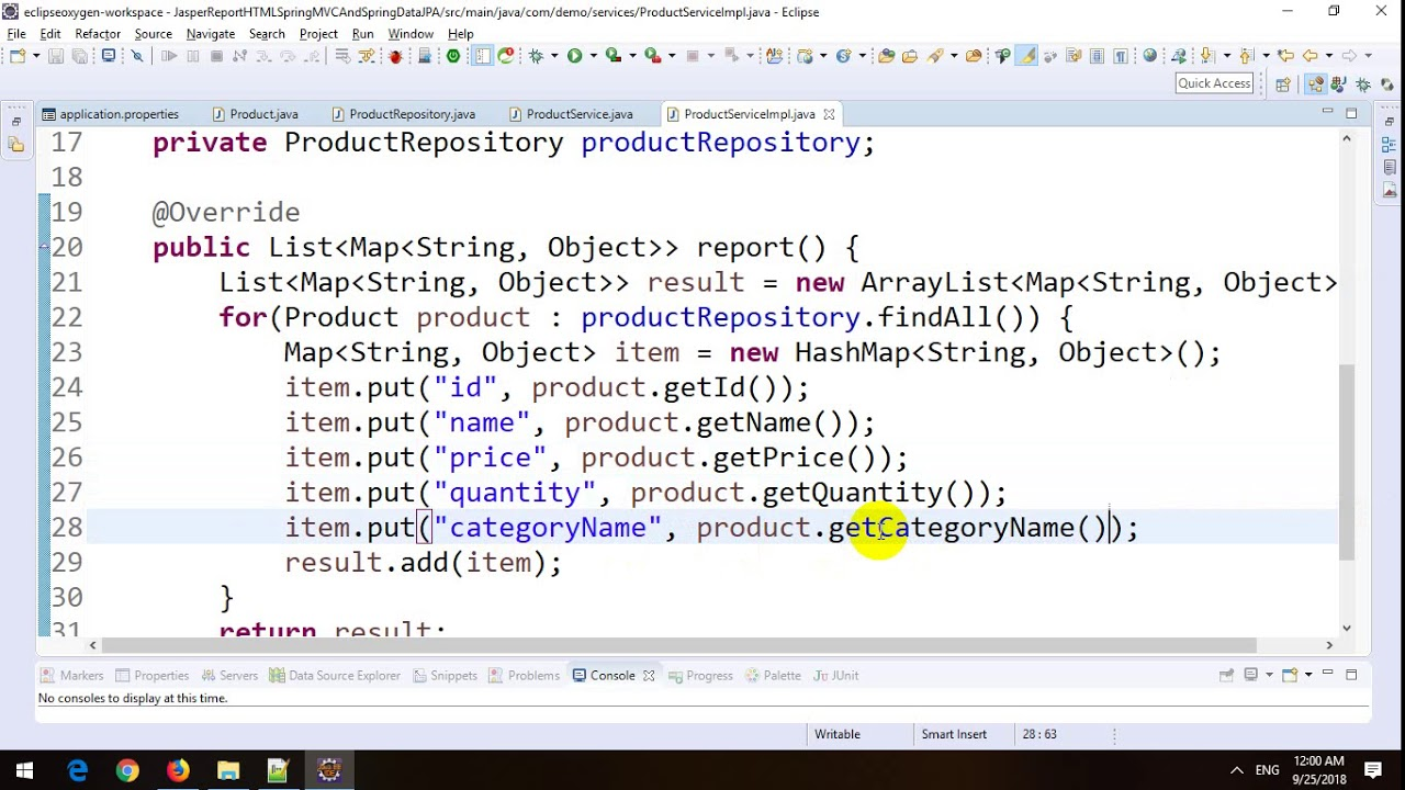 Generate HTML Report with Jasper Reports in Spring MVC and Spring Data JPA  in Spring Boot