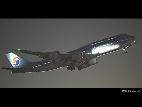 Boeing 747-8i AWESOME NIGHT TAKEOFF - Rome FCO [Sony a7s]