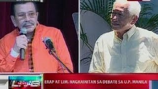 NTL: Erap at Lim, nagkainitan sa debate sa UP Manila