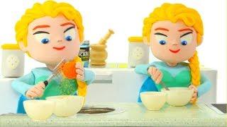 PRINCESS CHEF MAKES AN AWESOME CHOCOLATE CAKE ❤ SUPERHERO PLAY DOH CARTOONS FOR KIDS