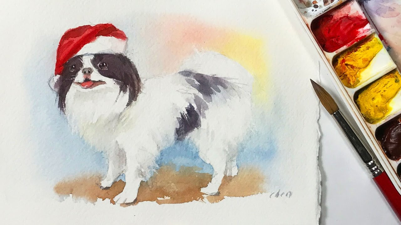 Watercolor Greeting Card Painting For Dog Christmas Card Youtube