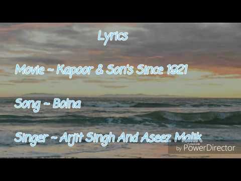 Kapoor & Son's (Since 1921)  ||  Bolna Lyrics