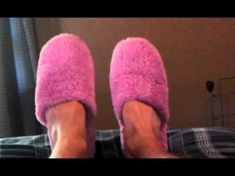 6428f54cc97 My pink fuzzy slippers I got in the mail lastyear - YouTube