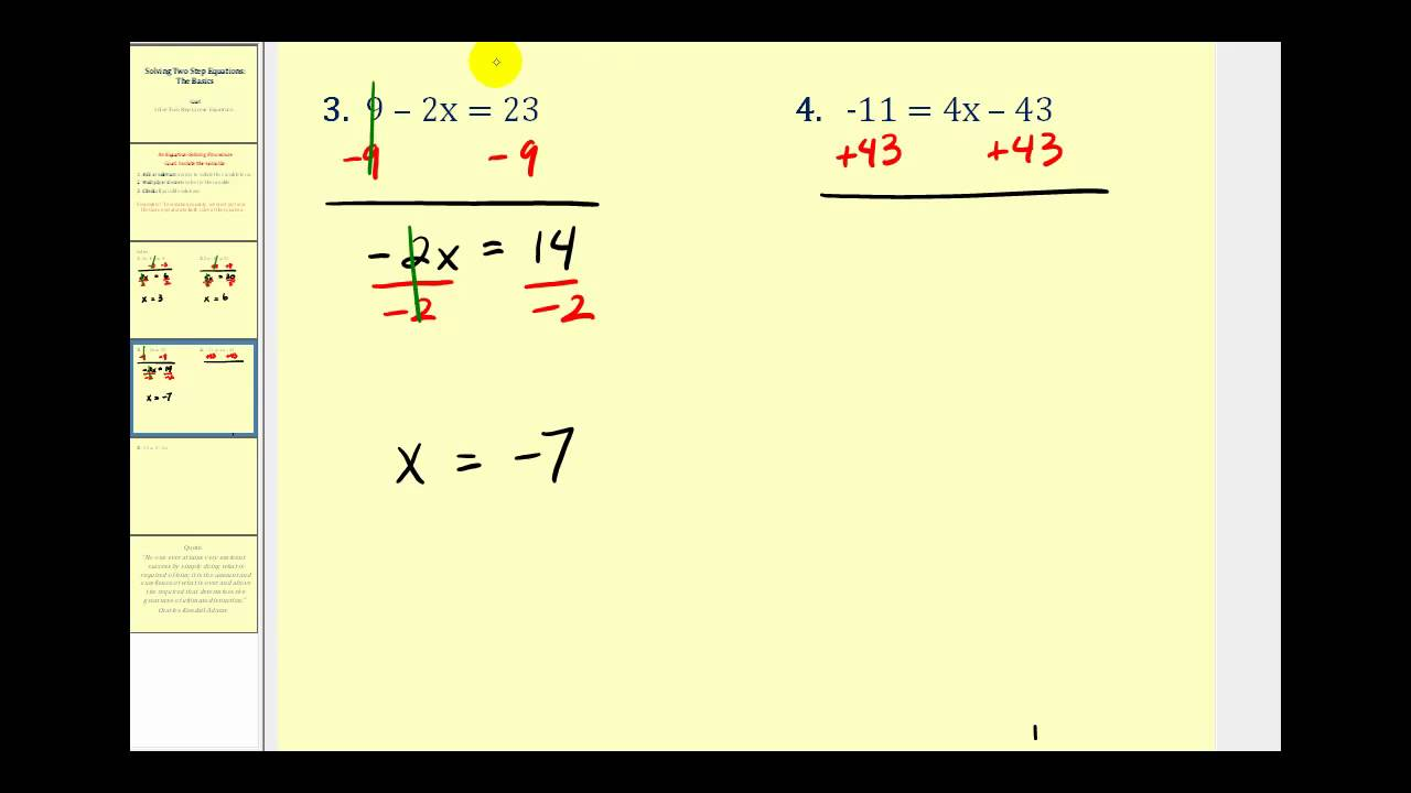small resolution of Solving Two Step Equations - Integers (solutions