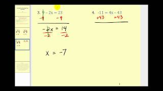 Solving Two Step Equations:  The Basics