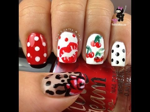 Pin Up Inspired Nails by The Crafty Ninja - YouTube