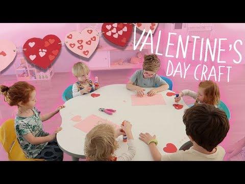 Kids Valentine's Day Heart Garland Craft