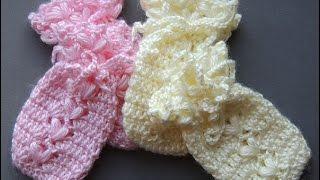 crochet guantes o manoplas para bebes 0 a 3 meses