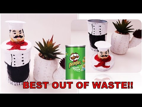 DIY FAT CHEF CONTAINER/ BEST OUT OF WASTE CRAFT/ PAPER MACHE CRAFT IDEA