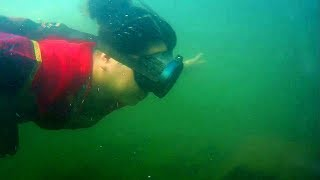 Gambar cover 用水下摄像机实拍农村姑娘潜到水底摸螺蛳,还真是有摸有样,一抓一大把,收获不错乐开怀