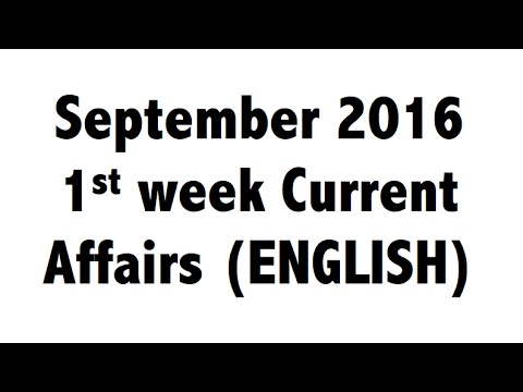 (English) September 2016 1st Week Best current affairs MCQ GK