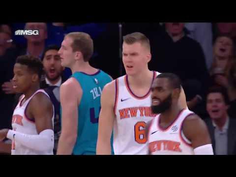 Knicks' Kristaps Porzingis Blocks Hornets' Cody Zeller 3 Times on Same Play