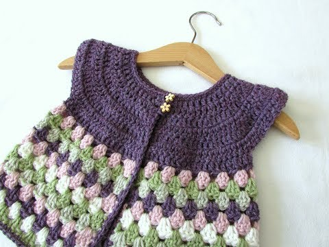 How to crochet a baby / girl's granny stripe cardigan