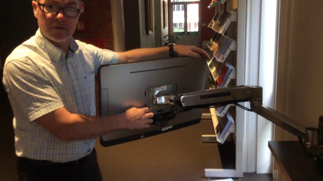 Ergotron wall mount articulating monitor arm demo  YouTube