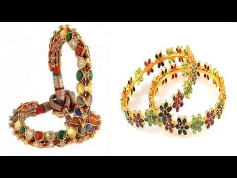 Latest Gold Antique Navaratna Designer Bangles Youtube 2016