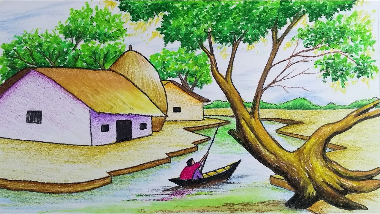 How to draw scenery landscape of village life step by step with colour easy drawing video