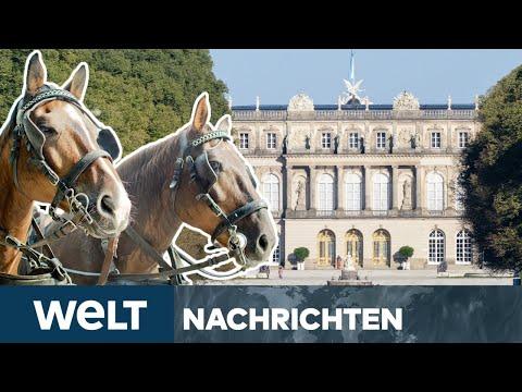 WELT NEWS STREAM: Königlicher Empfang - Söder & Merkel fahren Kutsche auf der Insel Herrenchiemsee